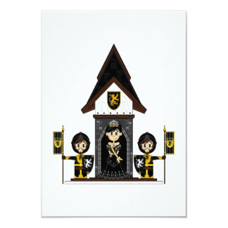 Princesa & cavaleiros no mini cartão do castelo convite