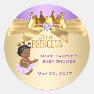 Princesa chá de fraldas da bailarina do ouro do adesivo redondo