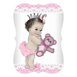 Princesa chá de fraldas do rosa do urso de ursinho convite 12.7 x 17.78cm