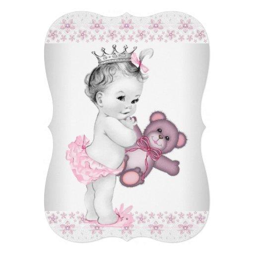 Princesa chá de fraldas do rosa do urso de ursinho convite personalizado