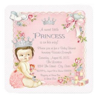 Princesa chá de fraldas do vintage convite quadrado 13.35 x 13.35cm
