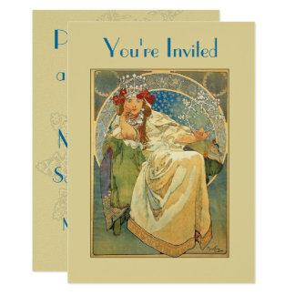 Princesa chá de panela de Nouveau da arte Convite 12.7 X 17.78cm