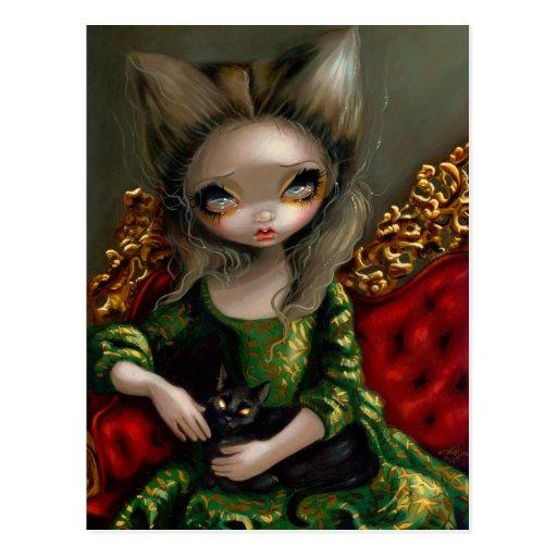 """""""Princesa com o cartão de um gato preto"""" Cartões Postais"""