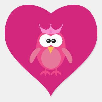 Princesa cor-de-rosa bonito Coruja Adesivo Coração