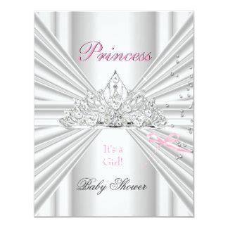 Princesa cor-de-rosa branca Tiara da menina do chá Convite 10.79 X 13.97cm