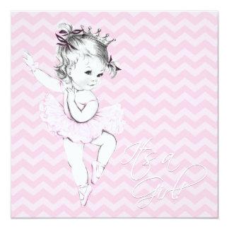 Princesa cor-de-rosa chá de fraldas da bailarina convite