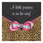 Princesa cor-de-rosa chá de fraldas do leopardo convites personalizado