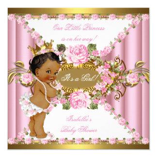 Princesa cor-de-rosa chá de fraldas do ouro branco convite quadrado 13.35 x 13.35cm