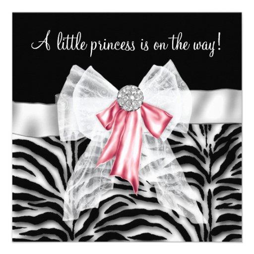 Princesa cor-de-rosa chá de fraldas do preto do ro convite personalizados