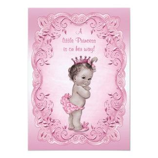 Princesa cor-de-rosa chá de fraldas do vintage convite 12.7 x 17.78cm