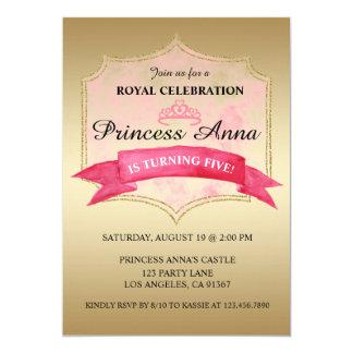 Princesa cor-de-rosa convite de aniversário real