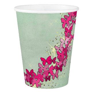 Princesa cor-de-rosa copos de papel da borboleta