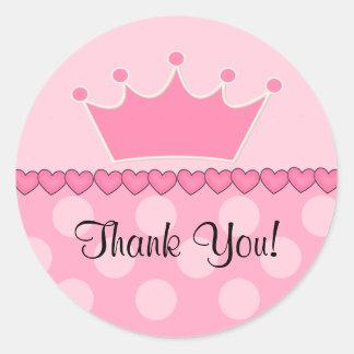 Princesa cor-de-rosa Coroa Agradecimento Você Etiq Adesivo Redondo