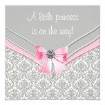 Princesa cor-de-rosa e cinzenta chá de fraldas do convites personalizados