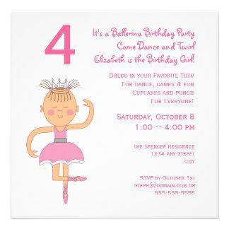 Princesa cor-de-rosa festa de aniversário da baila convites personalizado