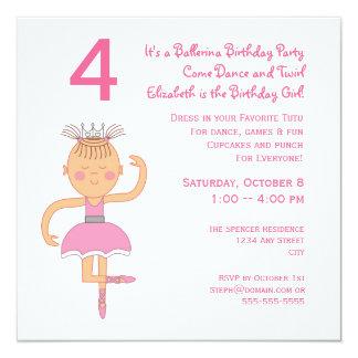 Princesa cor-de-rosa festa de aniversário da convite quadrado 13.35 x 13.35cm