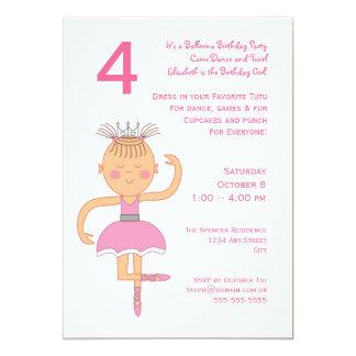 Princesa cor-de-rosa festa de aniversário da convite 12.7 x 17.78cm