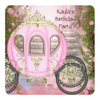 Princesa cor-de-rosa festa de aniversário dos convite quadrado 13.35 x 13.35cm