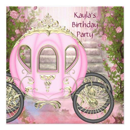 Princesa cor-de-rosa festa de aniversário dos rosa convites