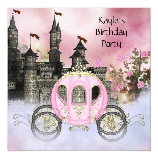 Princesa cor-de-rosa festa de aniversário dos rosa convite personalizados