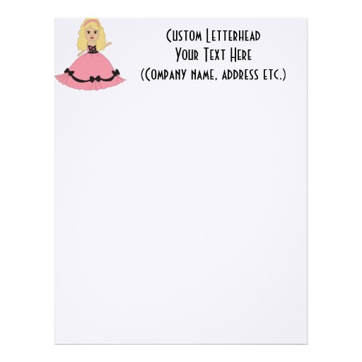 Princesa cor-de-rosa & preta 4 do vestido papel de carta personalizados