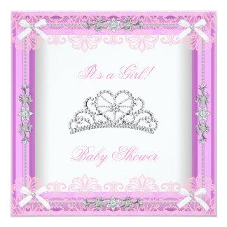 Princesa cor-de-rosa Tiara Laço da menina do chá Convite Personalizados