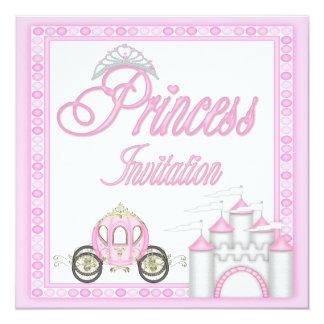 Princesa cor-de-rosa Treinamento e festa de Convite Quadrado 13.35 X 13.35cm