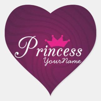 Princesa Coração Etiqueta Adesivos