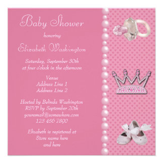 Princesa Coroa Calçados chá de fraldas do Pacifi Convites Personalizados