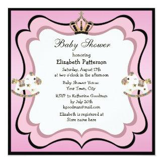 Princesa Coroa & chá de fraldas cor-de-rosa dos Convite Quadrado 13.35 X 13.35cm