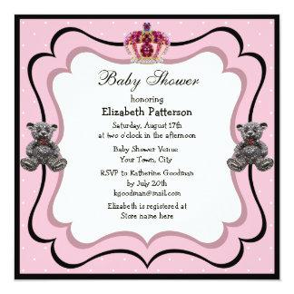 Princesa Coroa & chá de fraldas das jóias do urso Convite Personalizados