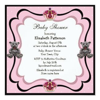 Princesa Coroa & chá de fraldas das jóias do urso Convite Quadrado 13.35 X 13.35cm