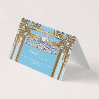 Princesa Coroa Tiara Partido Assento do azul & do Cartão De Mesa
