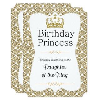 Princesa cristã Branco do aniversário e damasco do Convite 12.7 X 17.78cm