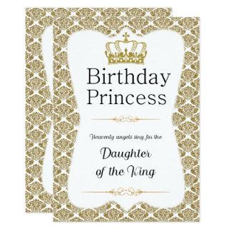 Princesa cristã Ouro Damasco do aniversário Convite 12.7 X 17.78cm