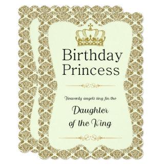 Princesa cristã Ouro do aniversário e damasco do Convite 12.7 X 17.78cm
