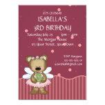Princesa customizável da fada do rosa do urso de convite personalizados
