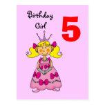 Princesa da criança de 5 anos (cabelo louro) cartao postal