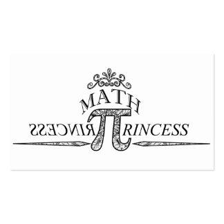 Princesa da matemática cartões de visitas
