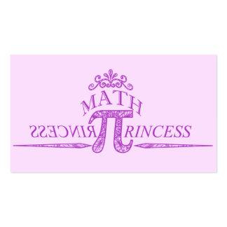 Princesa da matemática modelos cartoes de visita
