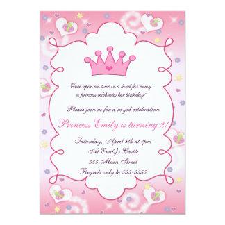 Princesa de coroa cor-de-rosa bonita convite de convite 12.7 x 17.78cm
