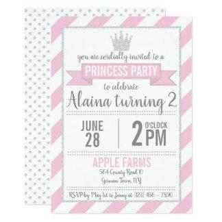 Princesa de prata cor-de-rosa Aniversário Convite