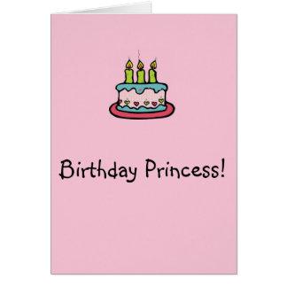 Princesa do aniversário cartão de nota