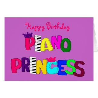 Princesa do piano do feliz aniversario cartoes