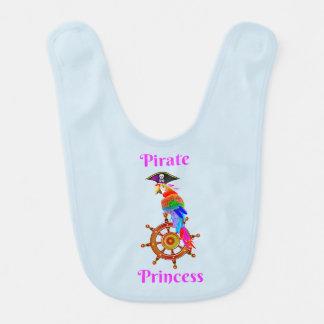 Princesa do pirata - babador do bebê do papagaio