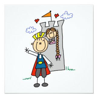 Princesa dos salvamentos do príncipe encantamento convite quadrado 13.35 x 13.35cm