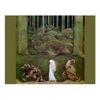 Princesa e caminhada dos troll através da floresta cartão postal
