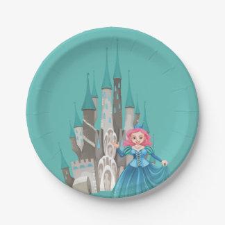 Princesa e castelo pequenos na turquesa