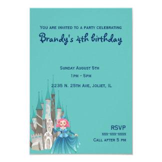 Princesa e castelo pequenos no aniversário de convite 8.89 x 12.7cm
