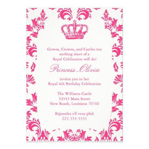 Princesa elegante festa de aniversário convite personalizado